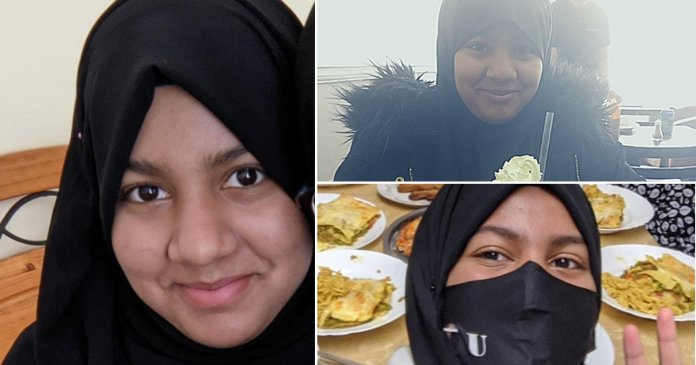 Hafizah in a hijab, Hafizah eating ice cream, Hafizah pulling a peace sign. A young girl, 14, has been missing from her home in Newham, east London, and her family are asking for help finding her.