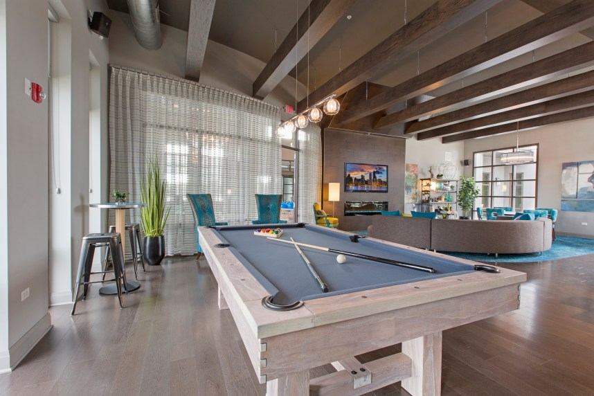 Billiards table at clubhouse   Metro 59 Apartments