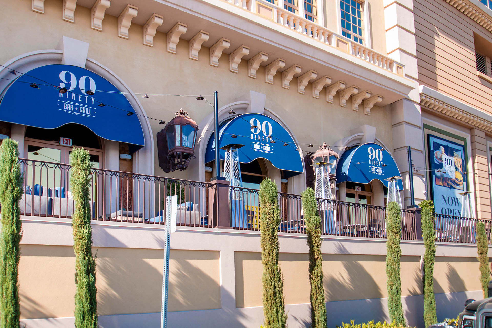 90 Ninety Bar and Grill Custom Commercial Awning System by Metro