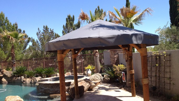 Custom Pool Side Canopy with Wooden Base