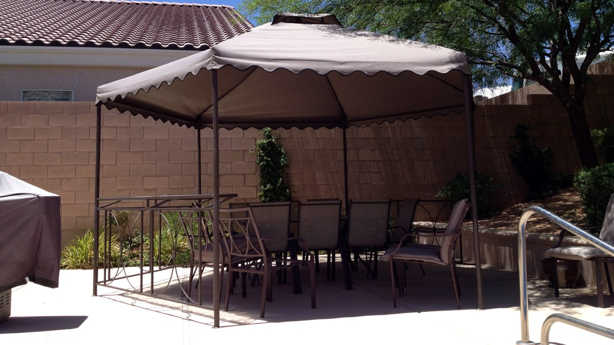 Custom Fabric and Iron Canopy Shade Structure in Las Vegas