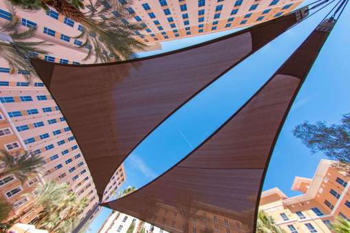 Wyndham Hotel Pool Area Custom Shade Sail Design and Construction by Metro Awnings