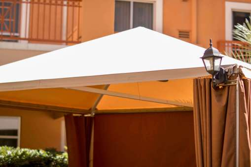 Close-up of Custom Cabanas at Wyndham Hotel Las Vegas - Cabanas Designed by Metro Awnings