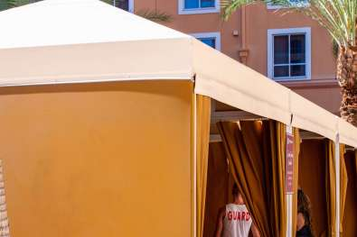 Wyndham Hotel Pool Area in Las Vegas - Cabanas and Shade Sail by Metro Awnings