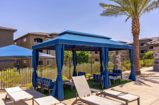 Level 25 Pool Cabanas Fabricated by Metro Awnings of Southern, Nevada
