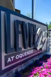 Level 25 Apartments Sign at Durango and Oquendo