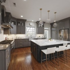 Remodeled Kitchen Home Depot Cabinet Refacing Photos Of A In Alexandria Va Dark Gray Cabinets Modern Remodel