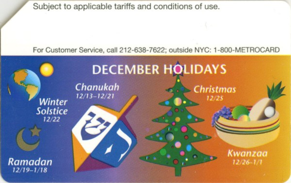 NYC Transit Metrocard Unofficial Web Site December Holidays