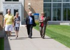 John Schneider, associate professor, College of Sciences; editorial board member Pat Effenberger and editor Mike Burbach of the Saint Paul Pioneer Press meet with incoming President Ginny Arthur, June 16, 2016.