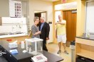 Associate professor John Schneider, right, conducts a tour of the Science Education Center for editorial board member Pat Effenberger and editor Mike Burbach of the Saint Paul Pioneer Press, who visited the Saint Paul Campus and met with incoming President Ginny Arthur, June 16, 2016.