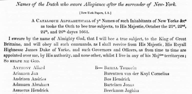 Surrender of New Amsterdam Dutch Oath