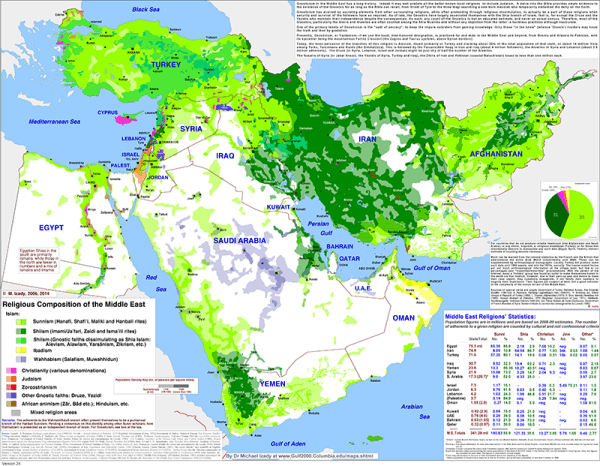Map of Middle East Religions