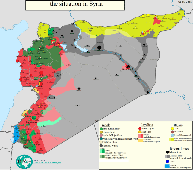 syria conflict map isis