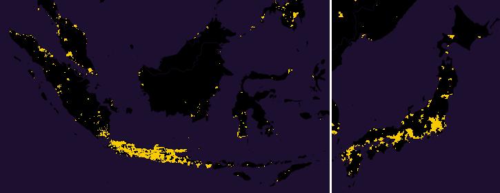 Carte du Japon Java (Indonésie) population