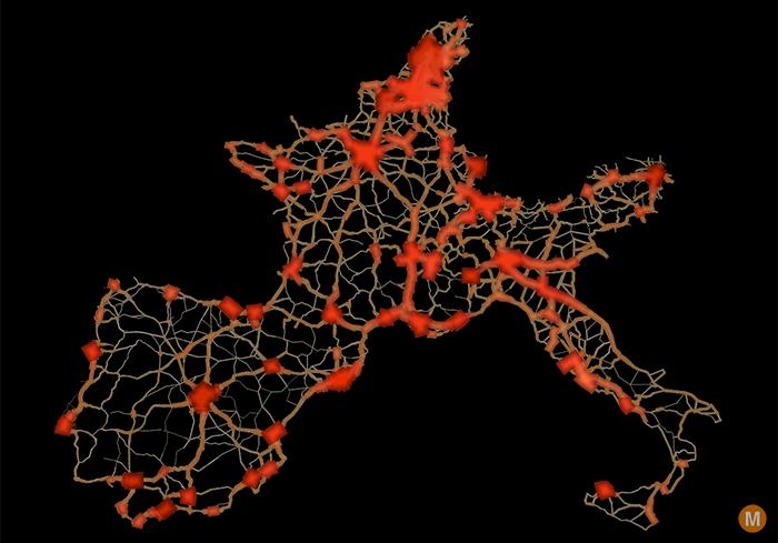 europe road traffic flow map