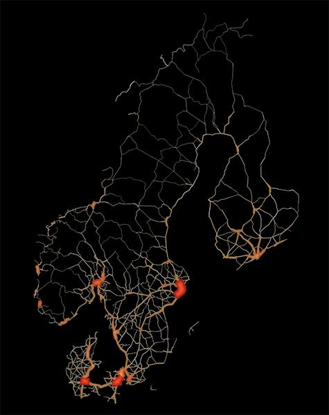 scandinavia road traffic map