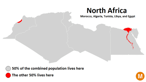north africa population density map