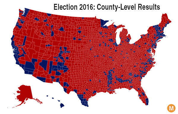 Image result for county by county election map 2016