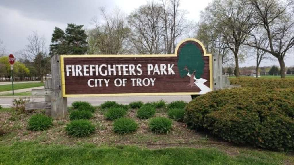 Firefighters Park in Troy sign