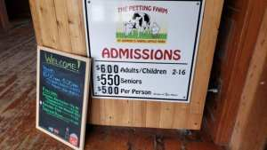 current admission rates at The Petting Farm at Domino's Farms