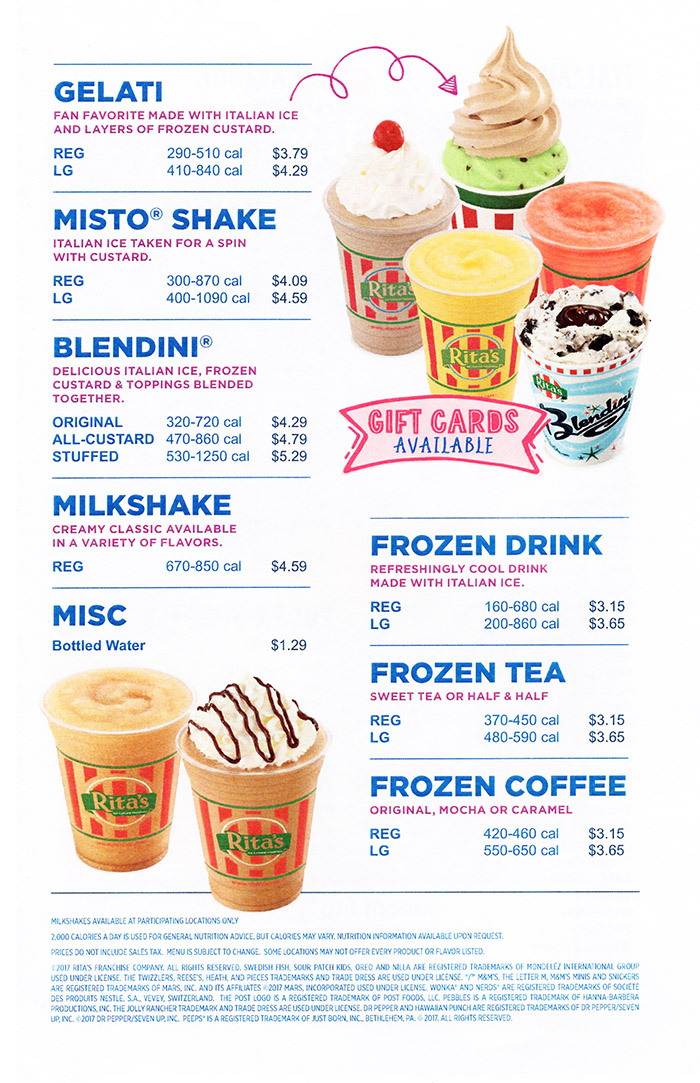 Ritas Italian Ice  Frozen Custard Delivery Menu  With