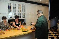 Charlotte Wengler-Tibbetts and Ron Flaviano in the kitchen