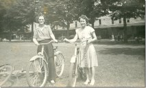 Conneaut Lake Park, Pa. Pictured: my grandmother, Violet Green, and her friend, Ethel Anderson. They rented bikes at the park. Courtesy of Sue Reniff.