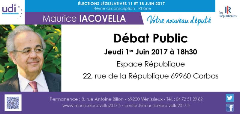 corbas Débat Public Maurice Iacovella Legislatives 2017 circonscription 14 6914 Rhone