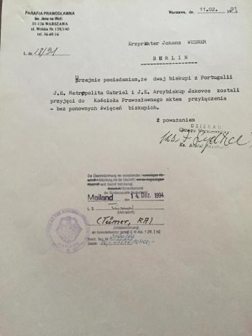 Lettera da parte della Chiesa Polacca che attesta la Successione Apostolica della nostra Metropolia