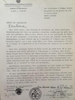 Lettera da parte di Metropolita Gabriele a S. E. Vescovo Virgile che dimostra la successione Apostolica