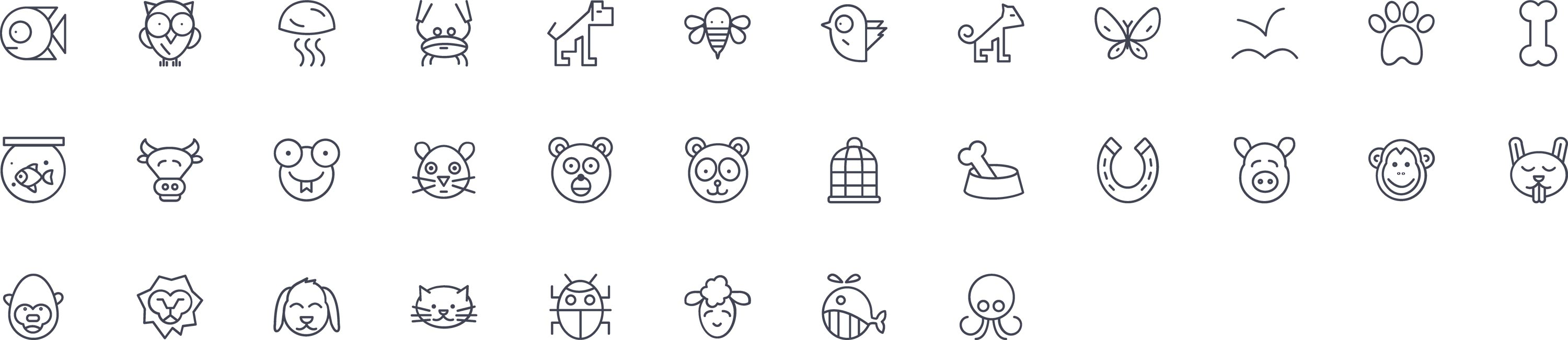 Animals Line Icons