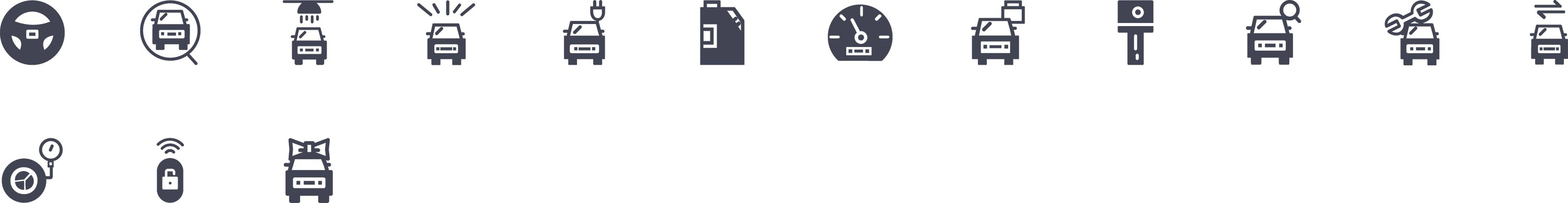 Car Service Glyph Icons