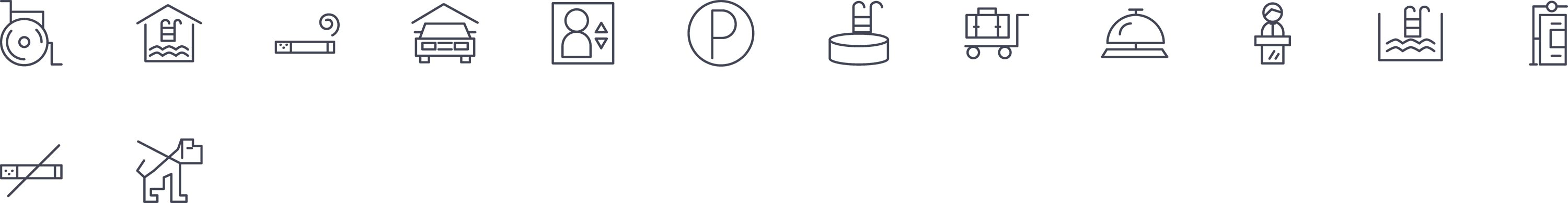 Hotel Facilities Line Icons
