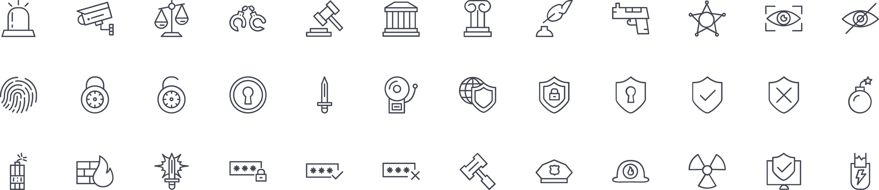 Law and Crime Line Icons