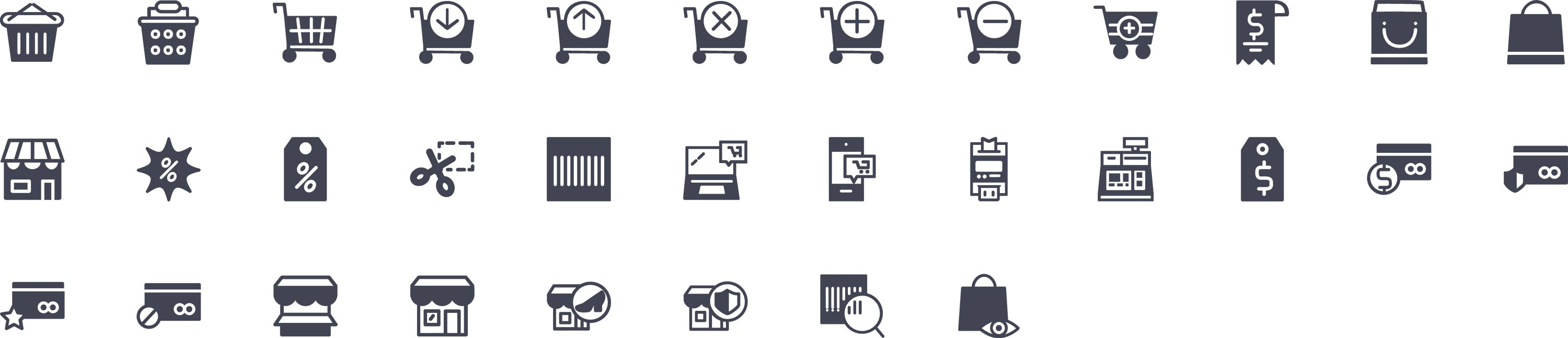 Shopping Glyph Icons