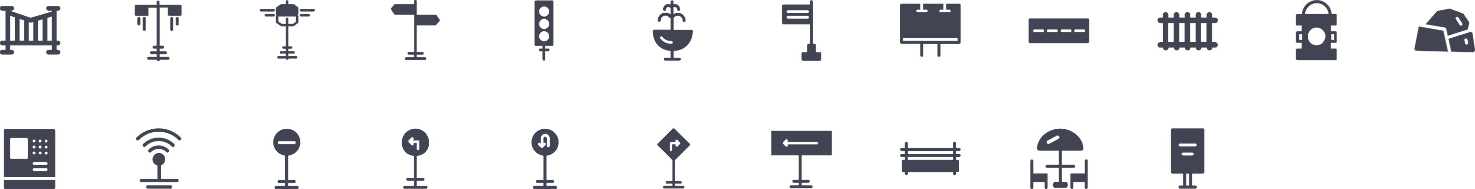 Street Elements Glyph Icons