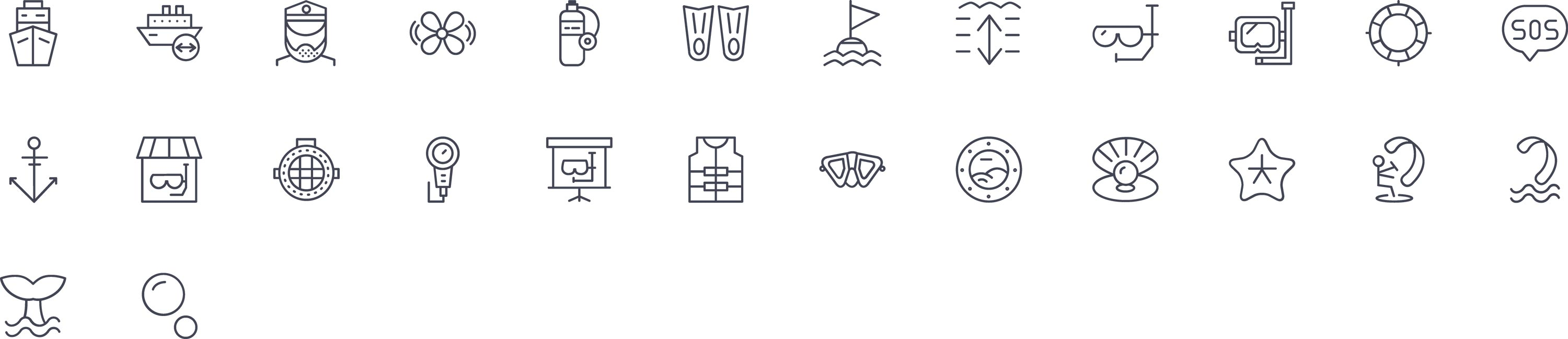 Water Activities Line Icons