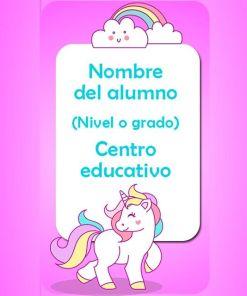 combo stickers y carnets escolares motivo unicornio