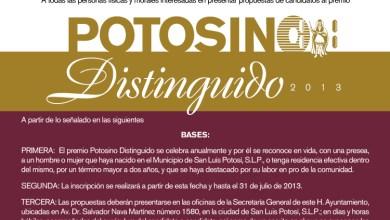"Photo of Lanzan Convocatoria para el premio ""Potosino Distinguido 2013"