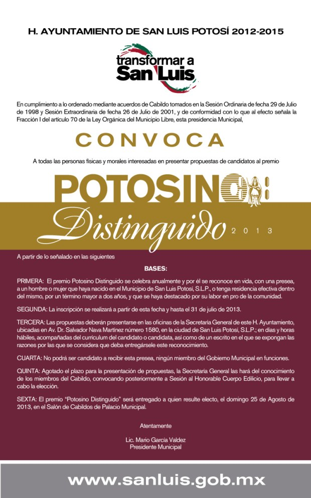 convocatoria potosino distinguido 2013