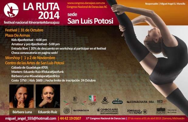 La Ruta Festival Nacional Itinerante De Danza Jazz Sede San Luis Potosí