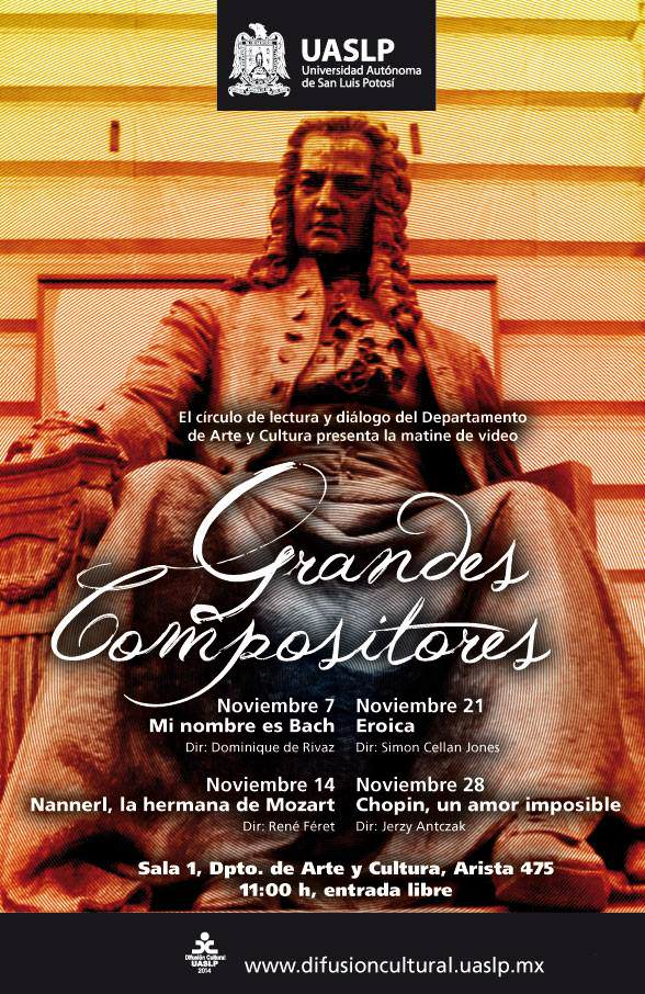 Ciclo de cine : Grandes Compositores @ Dpto. Arte y Cultura, UASLP | San Luis Potosí | San Luis Potosí | México