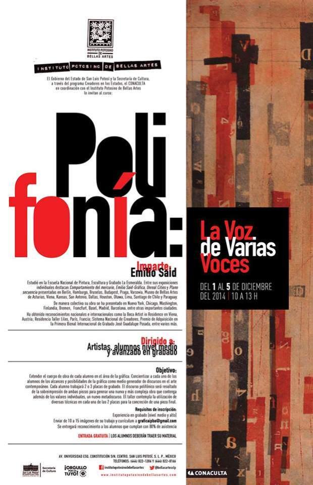 Polifonía: La Voz de Varias Voces con Emilio Said @ Instituto Potosino de Bellas Artes | San Luis Potosí | San Luis Potosí | México