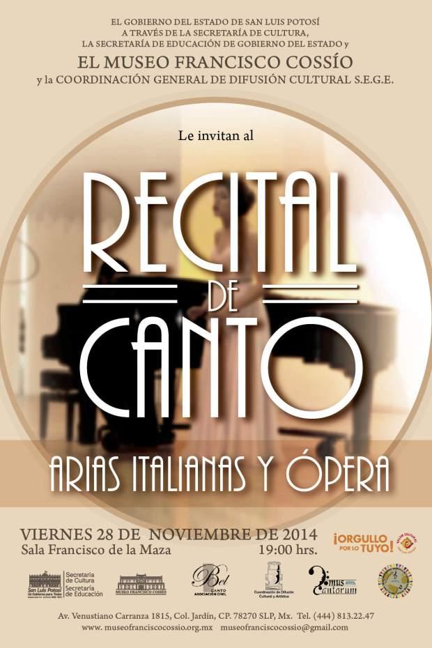 Recital de canto arias italianas y ópera @ Museo Francisco Cossío | San Luis Potosí | San Luis Potosí | México