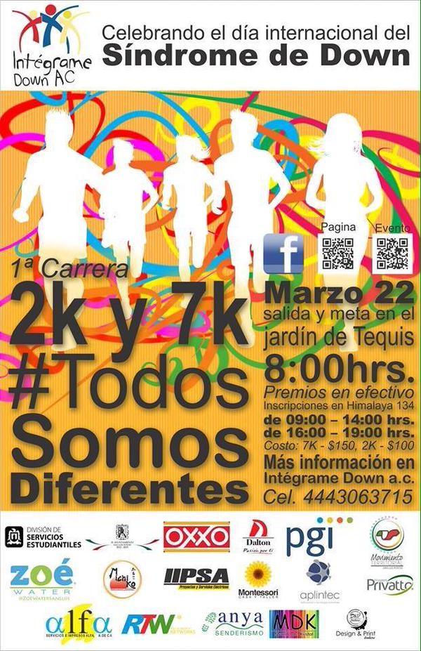 1a Carrera 2k y 7k #TodosSomosDiferentes @ Jardín de Tequis | San Luis Potosí | San Luis Potosí | México