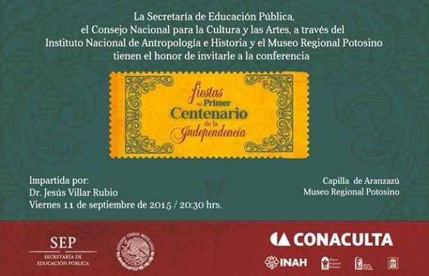 Fiestas del primero Centenario de la Independencia (conferencia) @ Plaza de Aranzazú