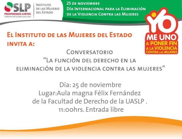"""Conversatorio """"La función del derecho en la eliminación de la violencia contra las mujeres"""" @ Facultad de Derecho UASLP"""