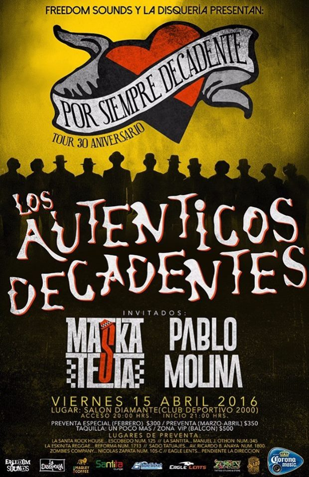 Los Auténticos Decadentes en San Luis Potosí @ Club Deportivo 2000 | San Luis Potosí | San Luis Potosí | México