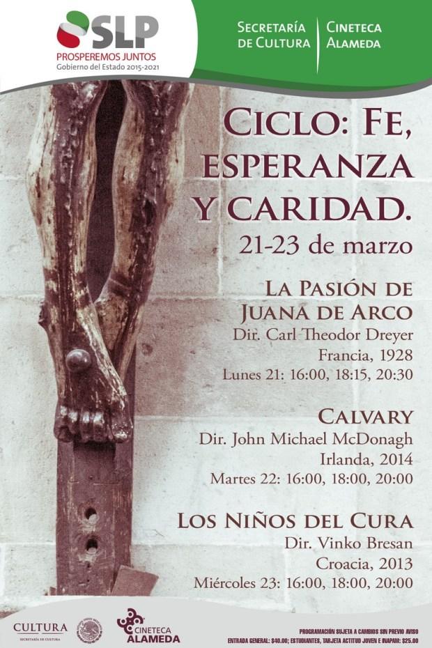 cartel FE ESPERANZA Y CARIDAD