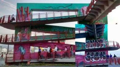 Photo of Vandalizan mural en puente de la Carretera 57